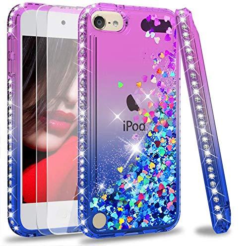 LeYi Funda iPod Touch 7 / 5 / 6 Silicona Purpurina Carcasa con [2-Unidades Cristal Vidrio Templado],Transparente Cristal...
