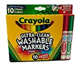 Crayola Ultraclean Broad Line Washable Markers, Color Max 10 Ct Plus Emoji Stampers