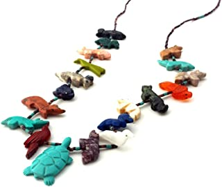 Hand Carved Single Strand Turtle with Mixed Animals Multicolored Fetish Necklace