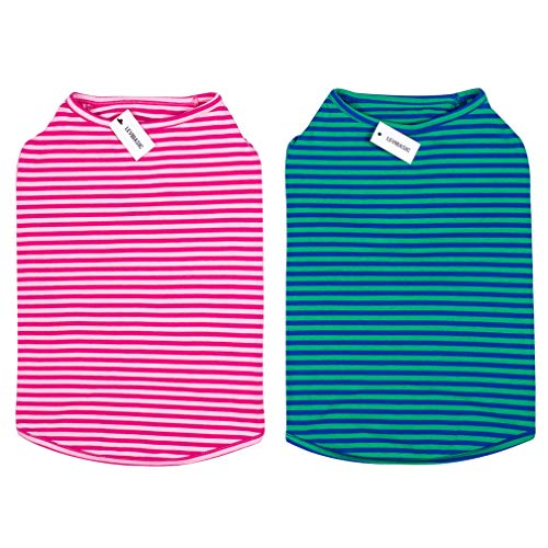 LEVIBASIC Dog Shirts Cotton Striped T-Shirts,Breathable Soft Basic Vest for Pet Clothes Pups Doggy Tee Tank Top (XXXL, Pink+Green)
