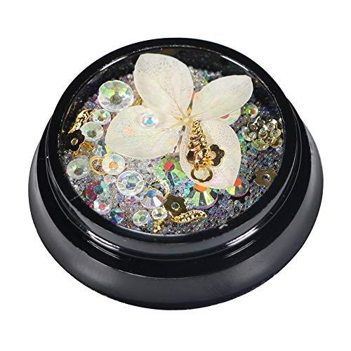 Gespout Patch pour Ongles 3D Crystal et Perle Nail Art Autocollant Deco Nail Art Lot Stickers Pour Ongles Nail Outils Artistiques Fleurs Beige