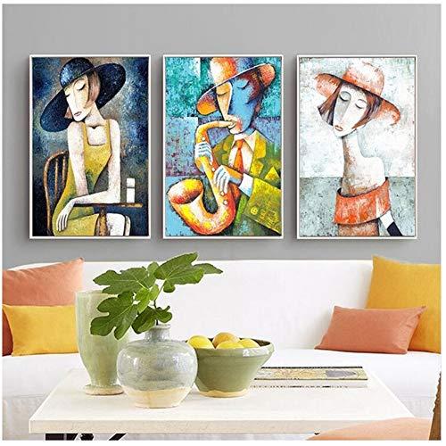 YangDINGYAO Elegante dame saxofoon heren stijl kunstdruk afbeelding canvas schilderij Nordic decoratie voor woonkamer 30cmx40cmx3 Ingelijst