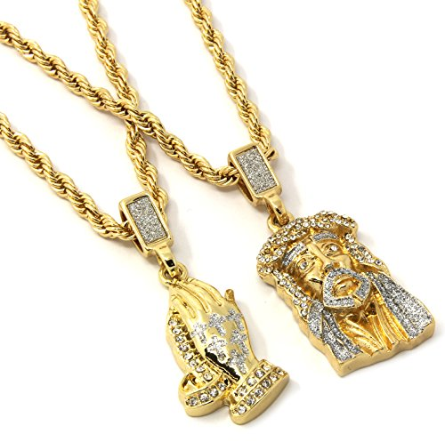 Jewel Town Mens Gold Two Piece Jesus & Prayer Hand Set Pendant Hip Hop 24' Rope Chain D421