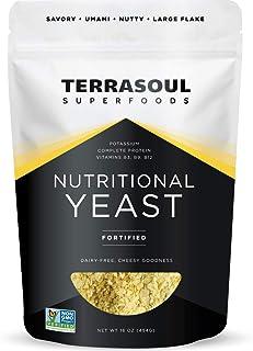 Terrasoul Superfoods Premium Nutritional Yeast Flakes, 16oz - Fortified   Gluten Free   Non-GMO   Vegan