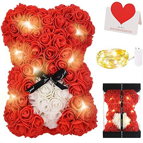 Zodight Oso de Rosas, Oso de Peluche Rojo con Caja Regalo + Cadena de Luz + Tarjetas felicitacion, Oso de Artificial Regalo para Madres/Novia/San Valentín/Cumpleaños/Bodas/Graduación/Aniversarios