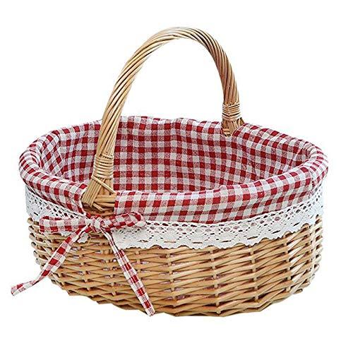 GJCrafts - Cestino da picnic, realizzato a mano, con manici in vimini, per riporre alimenti, per campeggio, picnic