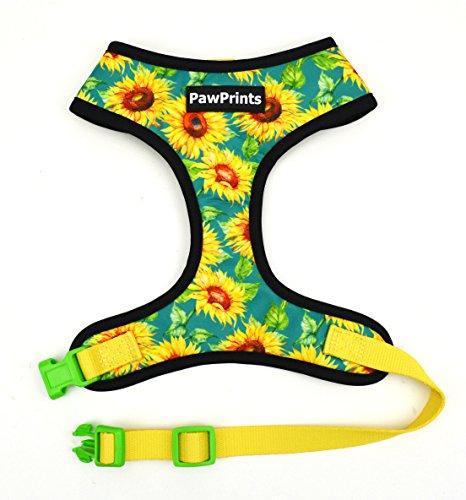 Paw Prints Dog Harness Leash Set NO Choke, Light Padding,Neoprene Lining,Made of Breathable Material,Adjustable Straps,Provides Comfortable Maximum Control (Sunflower Sunshine, Small)