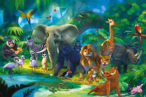 GREAT ART Fototapete Kinderzimmer – Dschungel Tiere – Wandbild Dekoration Jungle Animales Zoo Natur Safari Adventure Tiger Löwe Elefant AFFE Foto-Tapete Wandtapete (210x140 cm)