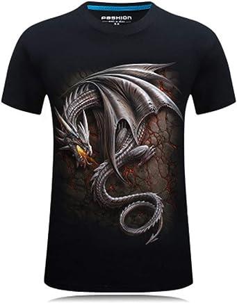 FEN&G t - Shirt stéréo Hommes 3D à Manches Courtes personnalité autoritaire Cycle Cou t - Shirt a XL Dragon cracheur de feu