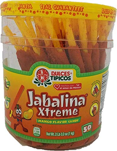 Jabalina Xtreme Mango Flavor Large 50 piece Container of Hot Tamarind Flavored Sticks candy(Palitos Con Tamarindo) Pinatera Mexican candy classical party snacks straws popotes enchilados Michelada