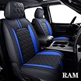 YIERTAI RAM Seat Covers Fit for 2009-2021 1500 HD 2010-2021 2500/3500HD Pickup Full Set Crew Double Cab Quad Cab Waterproof Faux Leather Seat Covers(5 PCS Full Set/Black-Blue)