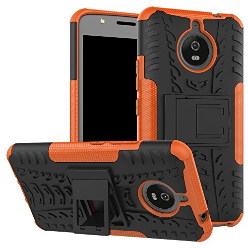 pinlu® Etui Schutzhülle Für Motorola Moto E4 Plus (5.5 Zoll) Handyhülle Hybrid Dual Layer Case TPU + PC Kombination Fall Stoßfest mit Stand-Funktion Reifen Muster Orange