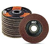 KSEIBI Aluminum Oxide 4 1/2 Inch Auto Body Flap Disc Sanding Grinding Wheel 10 Pack Type 27 (60 Grit)