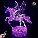Luz de noche de unicornio 3D para niños Lámpara de noche con luz de noche LED 16 colores que cambian el regalo de cumpleaños de Navidad de Halloween para niños Habitación de niñas y bebés