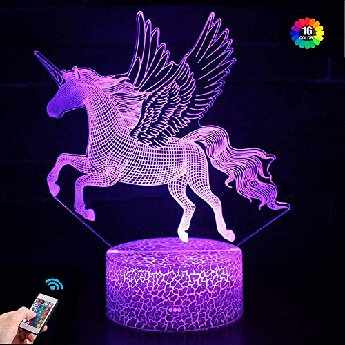 3D Unicorn Night Light for Kids LED Night Light Bedside Lamp 16 Color Changing Xmas Halloween Birthday Gift for Child Baby Boy Girls Room