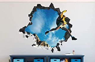 Wall Stickers Backpacker Adventure Mountain Wall Decal 3D Sticker Smashed Decorative Vinyl-60x90cm