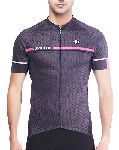 Santic Maillot Ciclismo Hombre Maillot Bicicleta Hombre Camiseta Ciclismo con Mangas Cortas Gris EU XS