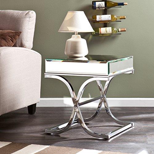 SEI Furniture Ava Mirrored, End Table, Chrome