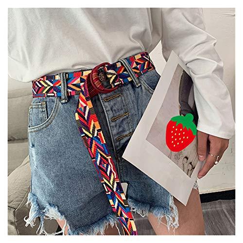 ZCPCS Cinturones de Mujer Casual Canvas Boho Chica Doble Cara Impresa Double D Anillo Hebilla Simple Ocio Largo Pantalones Faja (Belt Length : 120cm, Color : Red)