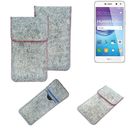 K-S-Trade® Handy Schutz Hülle Für Huawei Y6 2017 Dual SIM Schutzhülle Handyhülle Filztasche Pouch Tasche Hülle Sleeve Filzhülle Hellgrau Roter Rand