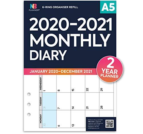 2020-2021 2 Jahre Monatsplaner Planer Nachfülleinlage 6-Ringbuch kompatibel A5