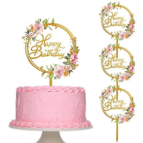 Uymaty 4 pezzi personalizzati Happy Birthday Cake Topper Acrilico Flower Cupcake Topper per ragazzeDecorazione della torta della festa di compleanno del bambino della madre dei bambini(Stile A)