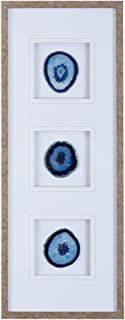 Madison Park Blue Trio Wall Art-Glass Framed Panel Natural Agate 4 Inch Geode Stones Living Room Décor,