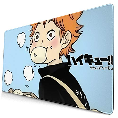 Haikyuu!! Extra Large Size Mouse Pad,Stitched Edges Water-Resistant Mouse Mat,Non-Slip Rubber Base Desk Pad 15.8x29.5 inch Ultra Thick 3mm Mousepad for Study