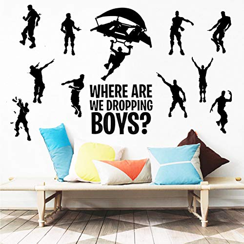 SUPANT Game Stickers for Wall Decal, Where We Droppin Boys for, Gaming Poster Murals for Dancing Nursery Boys Room Vinyl Bedroom Home Kids Decal Playroom(Medium Size)