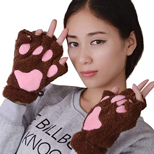 IMmps Mädchen süße Flauschige Plüsch Pfote halbe Finger Handschuhe Handschuhe Winter warme Fingerlose Handschuhe-T3952Coffee