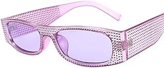 DovSnnx - DovSnnx Gafas De Sol Unisex para Hombres Y Mujers Polarizadas Protección 100% Uv400 Clásico Vintage Moda Sunglasses Imitación Diamante Morado Montura Lente Morada