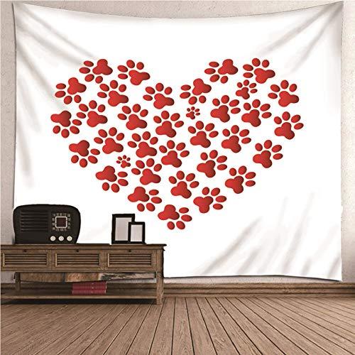 Beydodo Tapiz de Decoracion Patrón de Corazón con Huellas Rojo Blanco,Tapices Tela Poliéster Talla 350X256CM