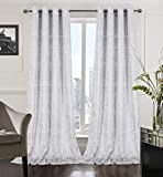 Alexandra Cole White Soft Velvet Curtains 108 Inch Long Luxury Bedroom Curtains Silver Foil Print Window Curtains for Living Room Set of 2