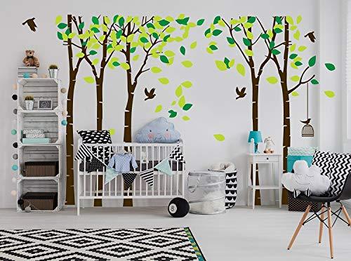 MAFENT Wandsticker mit 5 Birkenbäumen, groß, für Kinderzimmer, Schlafzimmer, Wohnzimmer, Dekor (braun)