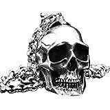 PAURO Hombre Grande Heavy Biker Gótico Cráneo Colgante Collar Punk Rock Acero...