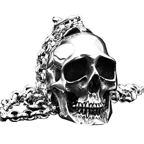 PAURO Hombre Grande Heavy Biker Gótico Cráneo Colgante Collar Punk Rock Acero Inoxidable Plata Negro Vintage