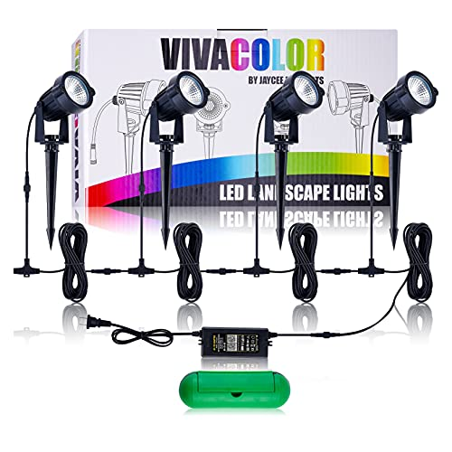 Waterproof RGB Complete Color Changing Landscape Lights Kit Bluetooth App Control, 48 Watts Total, Extra Long Cord, Built-in Timer, Programming, Music Sync, Mesh Capable(Complete 4 Light Set)