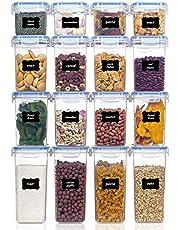 Vtopmart Flingbehållare för förvaring, lufttät plast BPA-fri kök skafferi mjöl förvaring, set med 16 med 24 etiketter