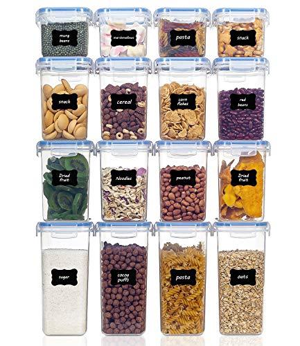 Vtopmart boîtes de Conservation Alimentaire sans BPA de Nourriture en Plastique avec Couvercle,Ensemble De 16 + 24 Étiquettes,pour Céréales,Farine (Bleu)