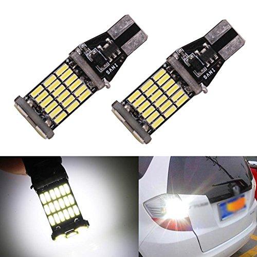 TABEN 921 W16W LED Ampoule de Marche arrière Can-Bus 4014 45-SMD Extrêmement Lumineux Voiture RV 912 T15 Feux de Stop pour Frein de Secours, 6000K Blanc xénon 12V-24V (Pack de 2)