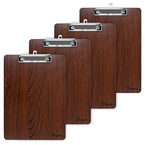 Uquelic 4 Piezas Portapapeles A4 con Pinza/Tableros con Pinza/Carpetas con Pinza Madera Clipboards A4 Impermeable Tablero con Pinza con Peniques Hole