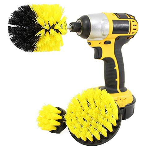 HOME CUBE 3 Pc Drill Brush Set for Bathroom Surfaces Tub, Shower,Kitchen, Tile and All Purpose Power Scrubber Cleaning Kit ( Cordless Drill NOT included )