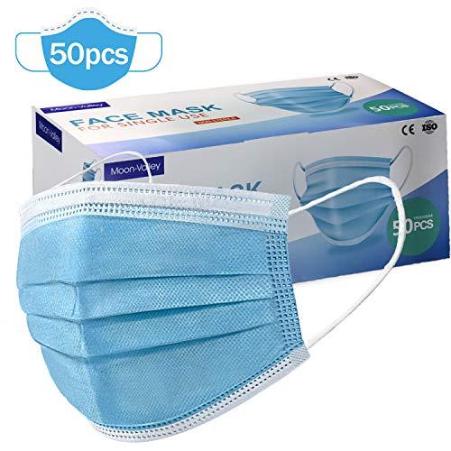 50 Einweg 3-Layer Mask Outdoor Schutz Gesichtschutz mit Ohrringen Mundschutz Atmungsaktiv Staubschutz Atemschutz