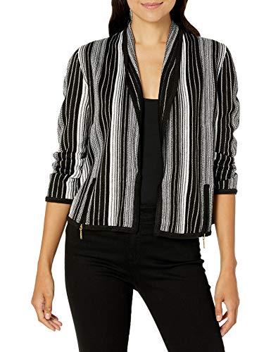 NINE WEST Women's Vertical Stripe 3/4 Sleeve Zip Front Moto Jacket