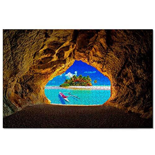 Grotta della Polinesia francese Puzzle pour adultes 1000 pièces Souvenir de voyage en bois 30x20 pouces