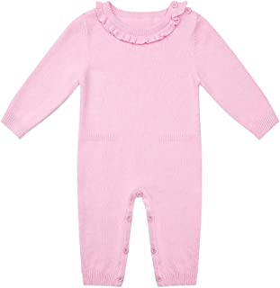 SMILING PINKER Baby Girl Romper Jumpsuit Ruffle Knit Sweater Cotton Solid Outfits with Fake Pocket