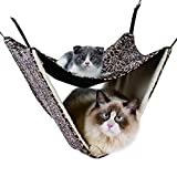 NACOCO 2 Level Comfortable Cat Hammock, Breathable Hanging Bed/nest for Kitten/Adult Cats, Double Layer Pet Cage for Spring/Summer/Winter(Leopard)