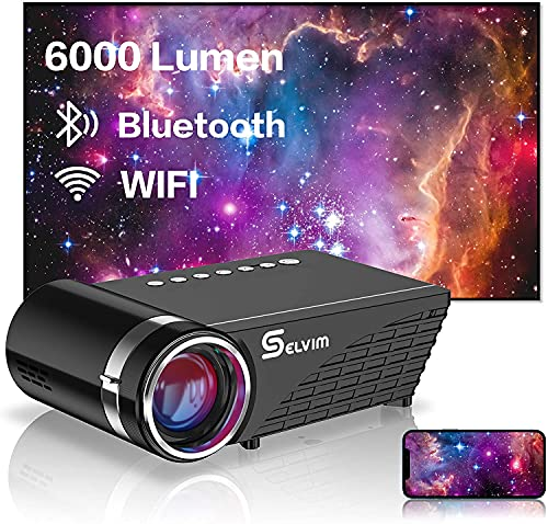 Selvim WiFi Bluetooth Projector, Mini Portable Projector with 6000 Lumens, Full HD 1080P Supported, 60000 Hours Lamp Life Home Theater Projector, 200'Display Compatible with TV Stick HDMI VGA AV USB