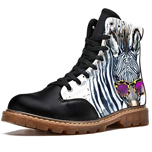 Anmarco Botas de invierno para mujer acuarela Hipster Zebra con gafas estampados alta parte superior de encaje clásico de lona zapatos de escuela, color Multicolor, talla 41.5 EU
