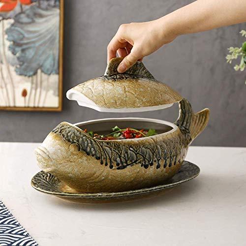H-CAR Juego de cacerola de cerámica, cuenco de sopa Tureen, cazuela resistente al calor, cazuela cubierta con tapa, olla de arcilla retro para sopa de pescado, color amarillo, 40 x 19,5 cm
